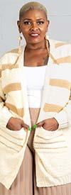 Velzera VLSW050 Womens Striped Knit Cardigan With Pockets