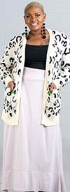 Velzera VLSW096-Cream - Womens Animal Print Knit Cardigan With Pockets