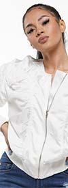 Why Dress - J180391-White - Shirring Detail Zipper Front Womens Jacket