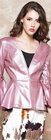 Why Dress - J180962 - Womens Faux Leather Peplum Jacket