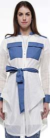 Why Dress - J190305 - Stripe Mesh Denim Trim Jacket Top With Sash