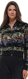 Why Dress - J190471 - Womens Multicolor Sequin Embellished Bomber Style Jacket