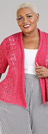 Joan Vass JV043W - Womens Half Sleeve Cardigan In Tapeyarn Knitted Fabric