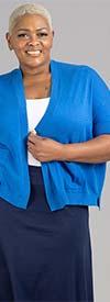 Joan Vass JV173W - Womens Short-Sleeve Cardigan In Fine Gauge Knit Fabric