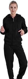 Lee Hanton LJS100X-Black - Hooded Womens Jog Set With Sherpa Fleece Lining