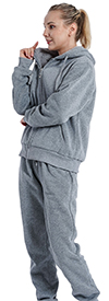 Lee Hanton LJS100X-Light Grey - Womens Hoodie Jog Set With Sherpa Fleece Lining