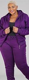 Lee Hanton LJS100X-Purple - Womens Hoodie Jog Set With Sherpa Fleece Lining
