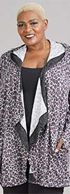 Soft & Cozy 663269 Womens Animal Print Hooded Cardigan With Cascading Lapels