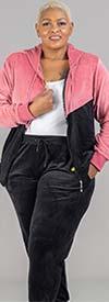Tracksuit LJS500-Black -Two-Tone Velour Design Womens Hoodie Jog Set