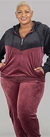 Tracksuit LJS500-Burgundy -Two-Tone Velour Design Womens Hoodie Jog Set