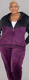 Tracksuit LJS500-Purple - Womens Hoodie Jog Set In Two-Tone Velour Design