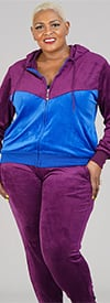 Tracksuit LJS500-Royal - Womens Hoodie Jog Set In Two-Tone Velour Design
