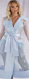 For Her 81565-Blue - Womens Wide Lapel Duster Jacket With Organza Fringe Trim