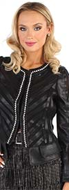 For Her 81661 - Embellished Mesh & Faux Leather Womens Jacket