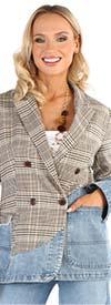 For Her 81739 - Plaid Pattern & Denim Mix Design Women Jacket