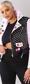 For Her 81751 - Womens Faux Leather Jacket In Studded Embellishment And Print Design