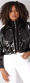 For Her 81757-Black - Faux Patent Leather Womens Jacket