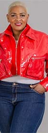 For Her 81757-Red - Faux Patent Leather Womens Jacket