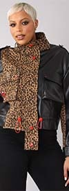 For Her 81759 - Animal Print / Faux Leather Womens Jacket With Number 89 Design