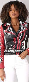 For Her 81763 - Animal Print / Patch Design Faux Leather Womens Belted Jacket