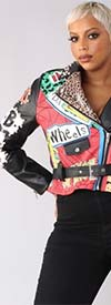 For Her 81767 - Womens Embellished Faux Leather Jacket In Graphic Print Design