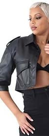 For Her 81768 - Womens Faux Leather Jacket In Crop Style Design