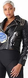 For Her 81779 - Embellished Print Design Faux Leather Womens Jacket