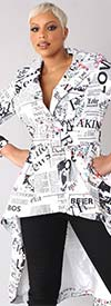 For Her 81788 - Newsprint Design Womens High-Low Style Belted Jacket
