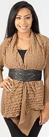Rossi Roma 51001F - Womens Crinkle Ruffle Design Cardigan