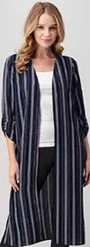 Vision Apparel T19718 Womens Vertical Stripe Print Design Duster