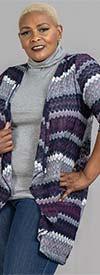 Catherines T79777W - Womens Three Quarter Sleeve Cardigan In Jacquard Stripe Design