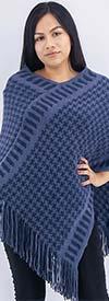 Etc. CH77-Blue - Womens Fringe Trim Houndstooth Print Knit Poncho