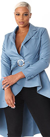 For Her 81730-Blue - Womens High-Low Style Belted Faux Leather Jacket