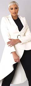 For Her 81730-Ivory - Womens High-Low Style Belted Faux Leather Jacket