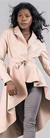 For Her 81730-Nude - Womens High-Low Style Belted Faux Leather Jacket