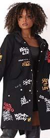 For Her 81782-Black - Womens Long Print Design Hooded Jacket