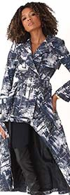 For Her 81798 - Womens High-Low Print Design Double Breasted Jacket
