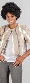 Nina Leonard L0418A - Womens Faux Mink Fur Bolero Topper