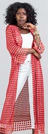 Soul Line T1044 - Womens Pearl Embellished Open Mesh Duster
