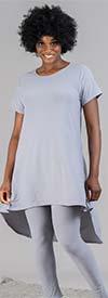 Dududai 641145A-Grey - Womens High-Low Design Top And Pant Set