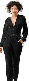 Highlight ST104SP104-Black -Two Piece Womens Hoodie Jog Set With Strap Accents