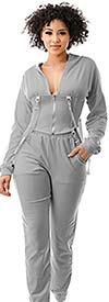 Highlight ST104SP104-Gray -Two Piece Womens Hoodie Jog Set With Strap Accents