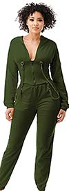 Highlight ST104SP104-Olive -Two Piece Womens Hoodie Jog Set With Strap Accents