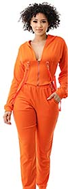 Highlight ST104SP104-Orange -Two Piece Womens Hoodie Jog Set With Strap Accents