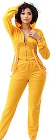 Highlight ST104SP104-Yellow -Two Piece Womens Hoodie Jog Set With Strap Accents