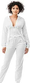 Highlight ST104SP104-White -Two Piece Womens Hoodie Jog Set With Strap Accents