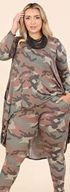 KarenT-5154-Camo - Womens Camouflage Print Design Pant Set With High-Low Style Top