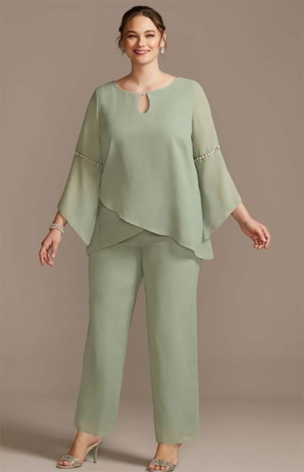 Le Bos 27992W-Sage - Womens Pant Suit With Keyhole Neckline And Pearl Details