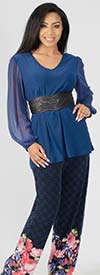 CSC-1475 - Womens Floral Design Pant Set With Solid Sheer Sleeve Top