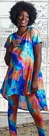 Dududai 641145-Blue - Womens Tye Dye Print Design High-Low Top And Pant Set